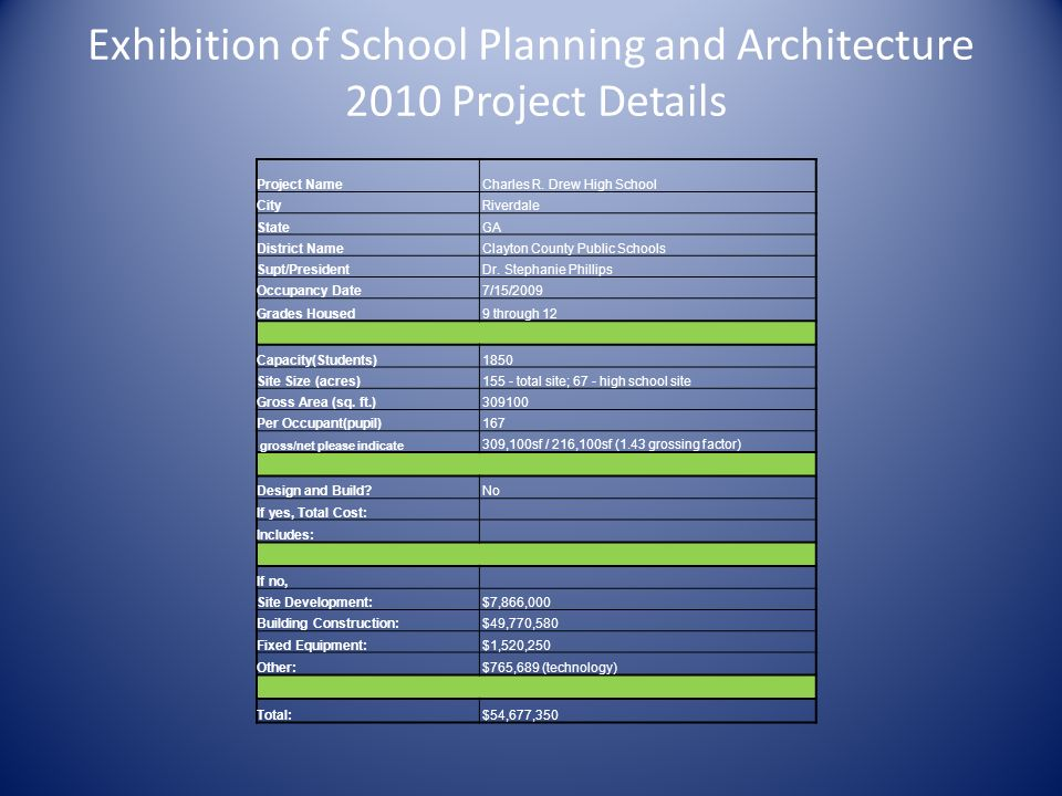 Exhibition of School Planning and Architecture 2010 Project Details