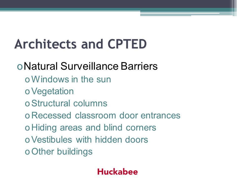 Architects and CPTED Natural Surveillance Barriers Windows in the sun