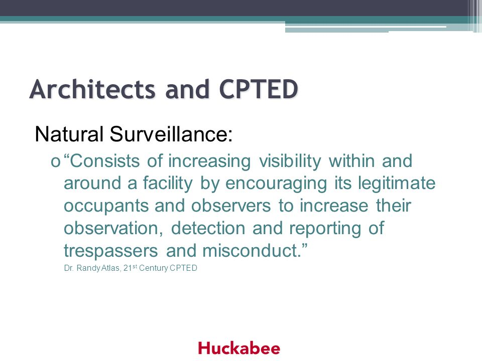 Architects and CPTED Natural Surveillance: