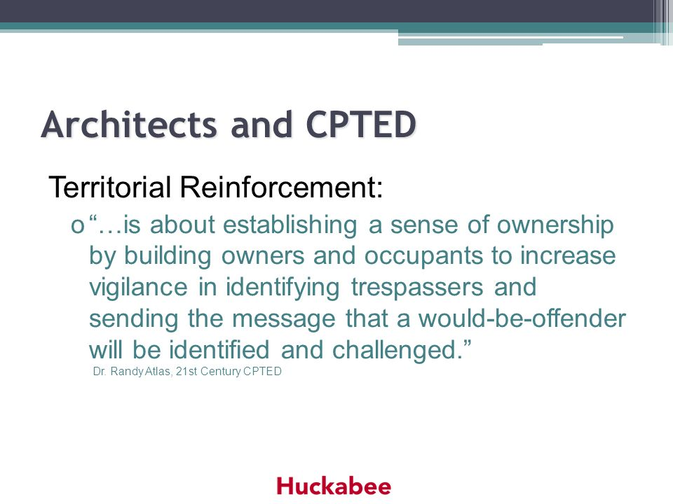 Architects and CPTED Territorial Reinforcement: