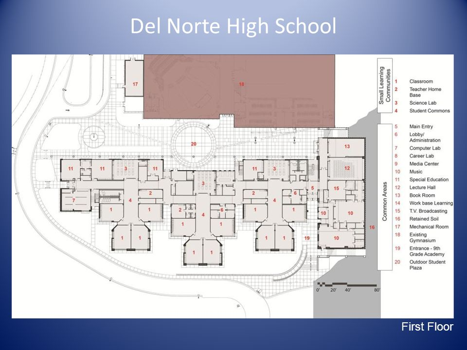 Del Norte High School Main Site Diagram First Floor