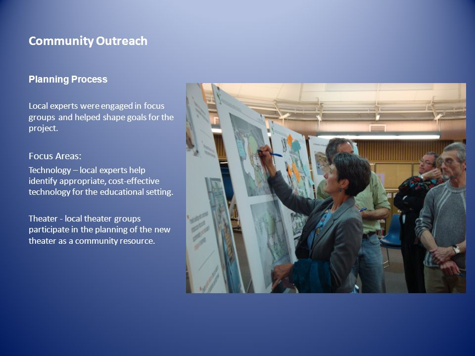 Community Outreach Focus Areas: Planning Process