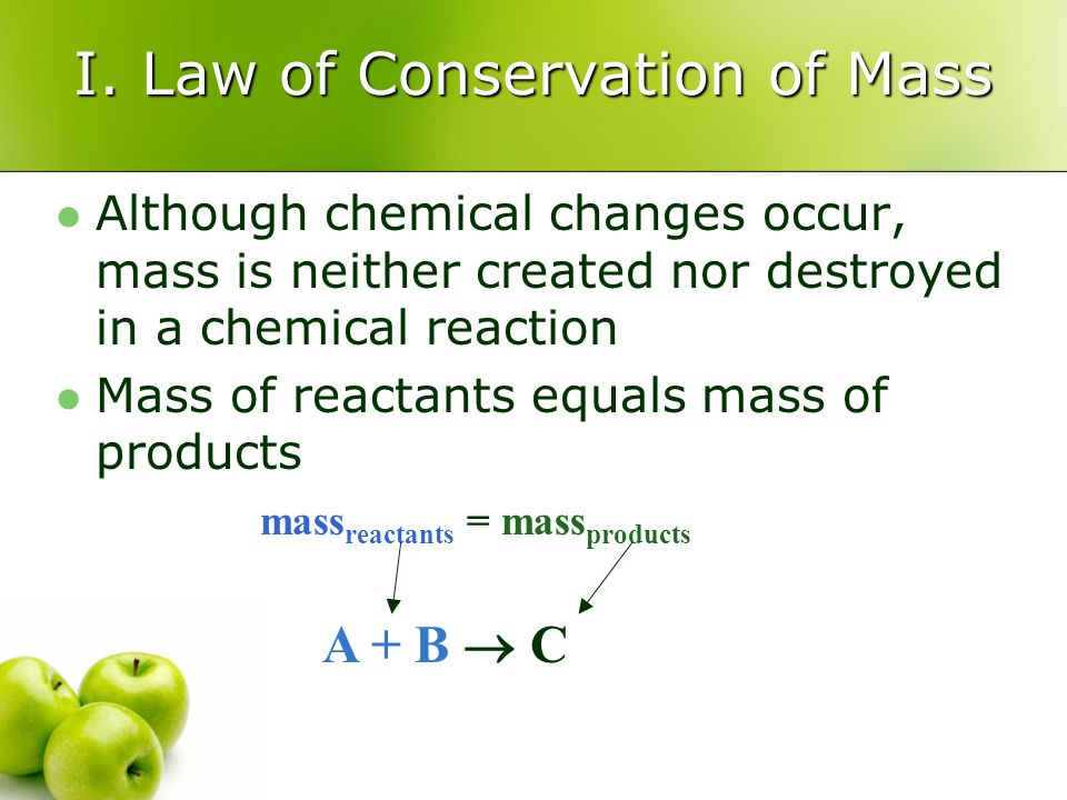 I. Law of Conservation of Mass