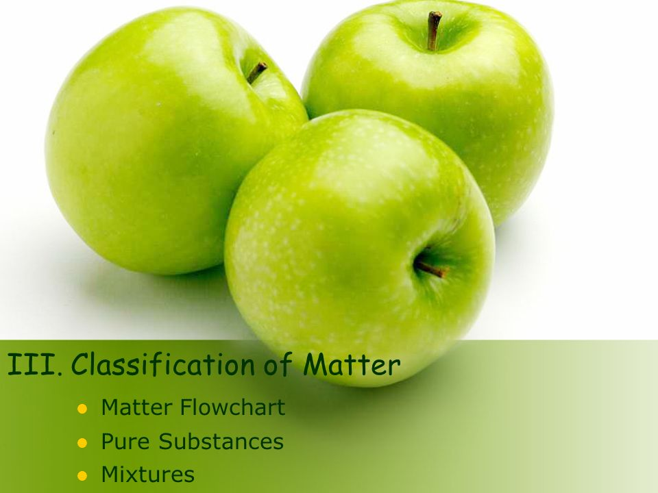 III. Classification of Matter