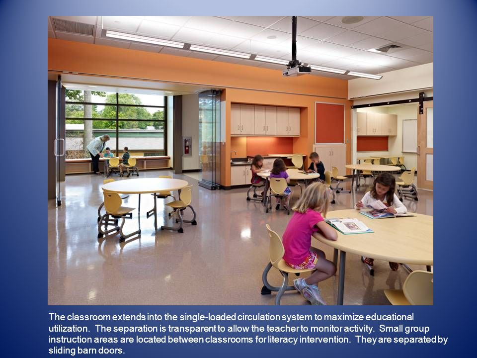 The classroom extends into the single-loaded circulation system to maximize educational utilization.