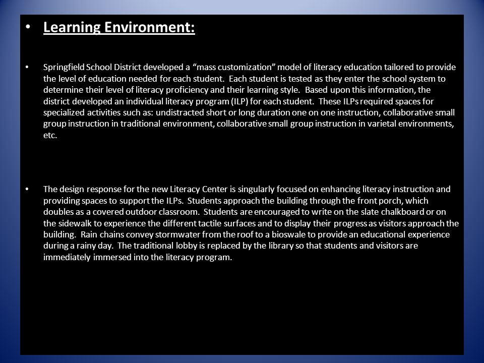 Learning Environment: