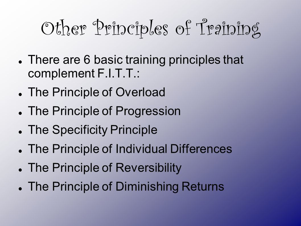 Training Principles And Methods Ppt Download