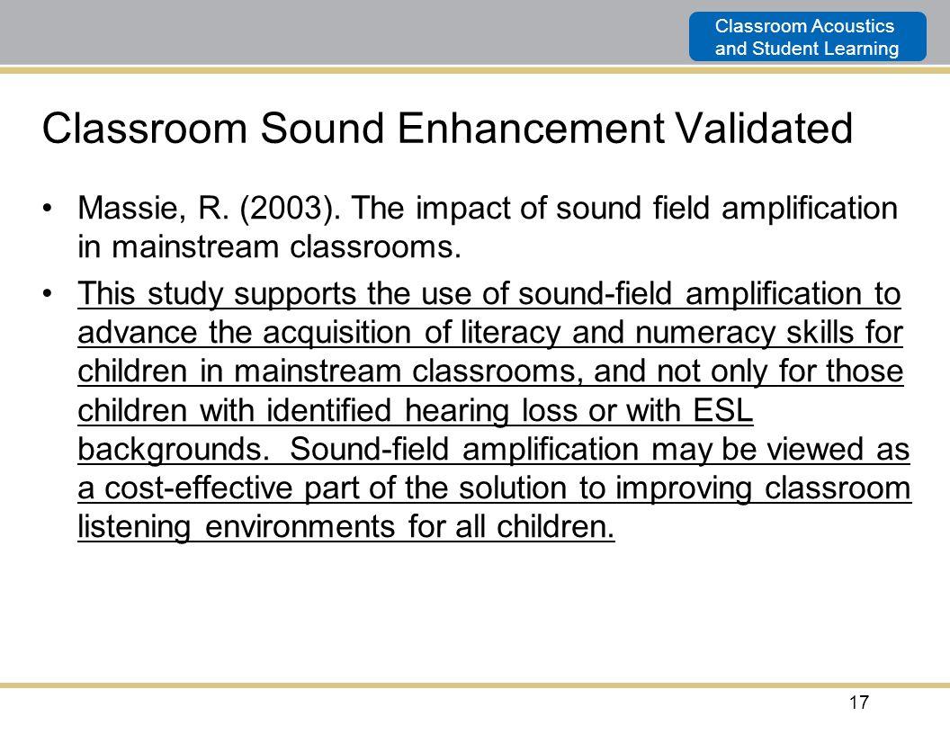 Classroom Sound Enhancement Validated