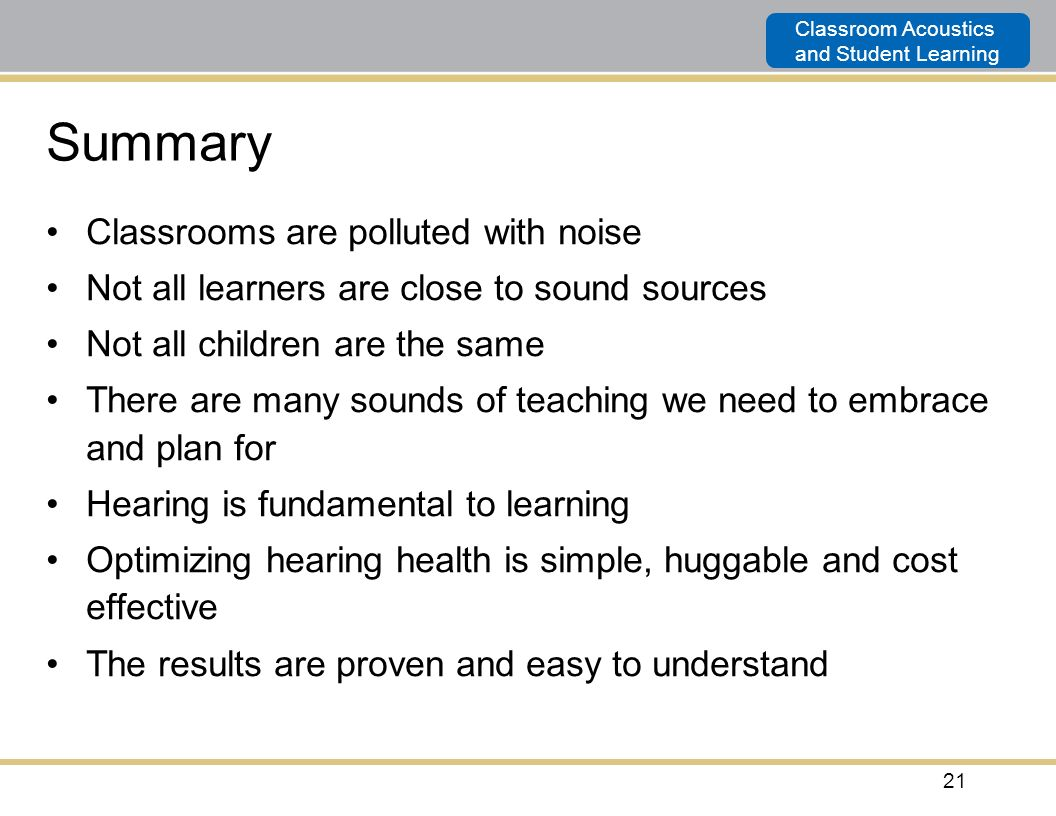 Summary Classrooms are polluted with noise
