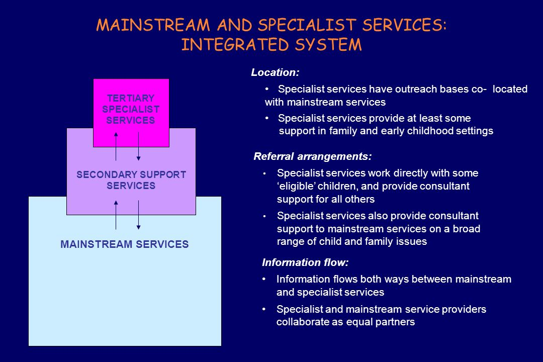 MAINSTREAM AND SPECIALIST SERVICES: INTEGRATED SYSTEM