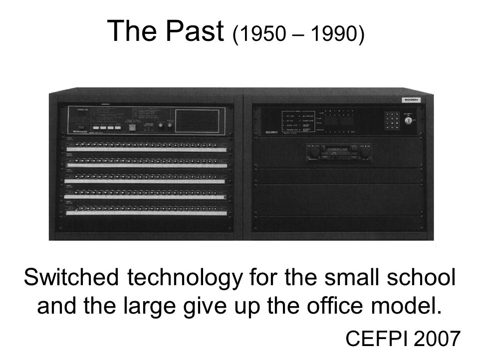The Past (1950 – 1990) Switched technology for the small school and the large give up the office model.