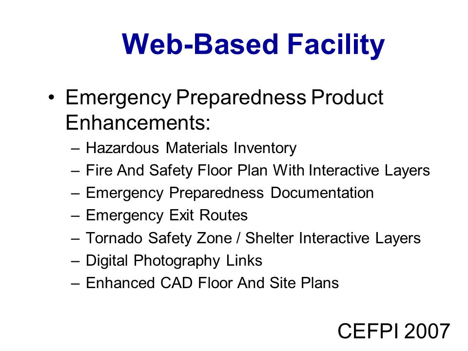 Web-Based Facility Emergency Preparedness Product Enhancements: