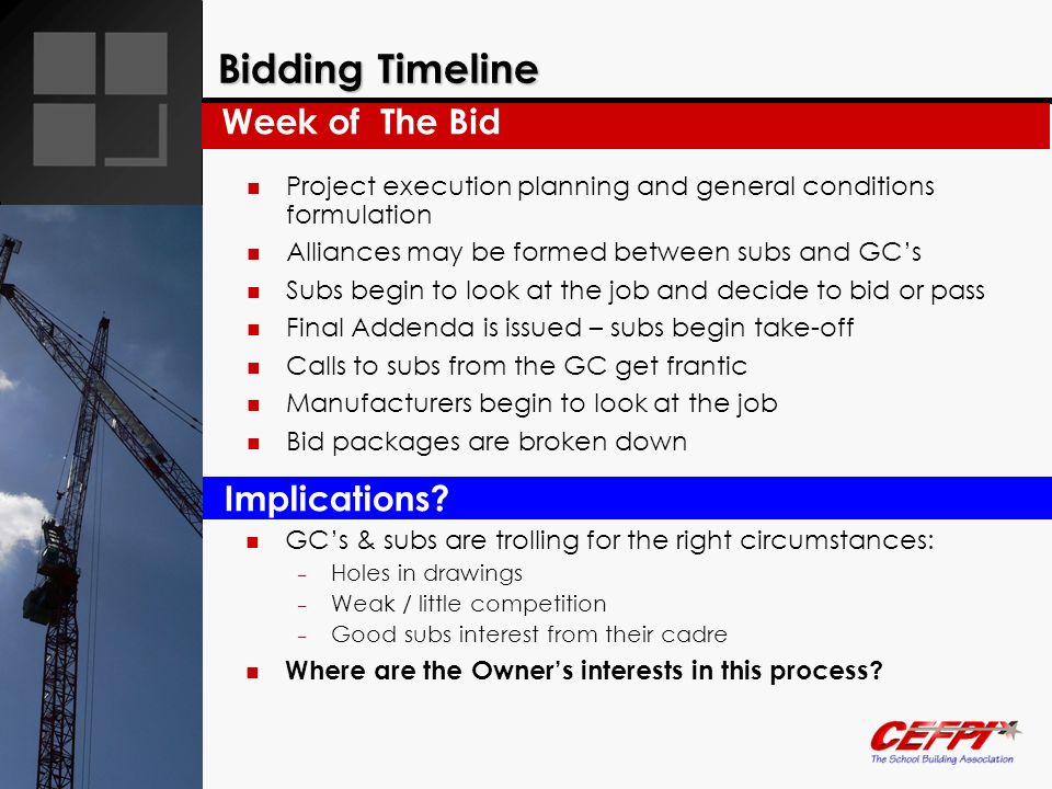 Bidding Timeline Week of The Bid Implications
