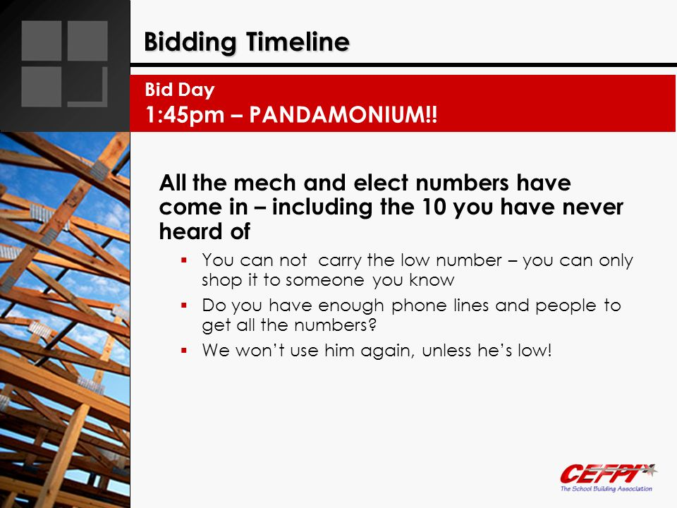 Bidding Timeline 1:45pm – PANDAMONIUM!!