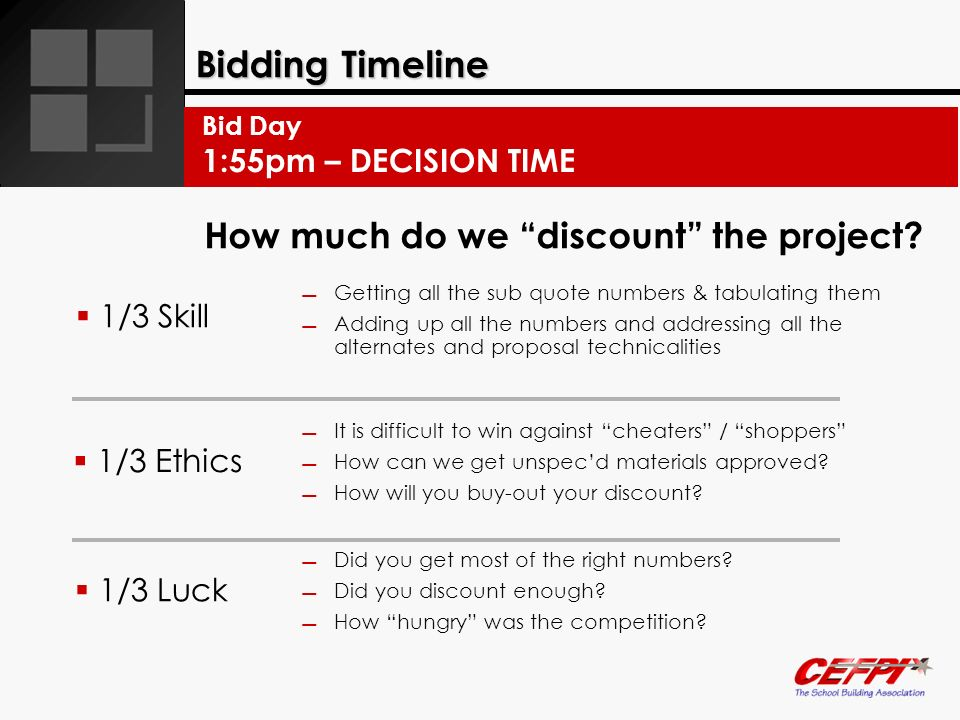 Bidding Timeline How much do we discount the project