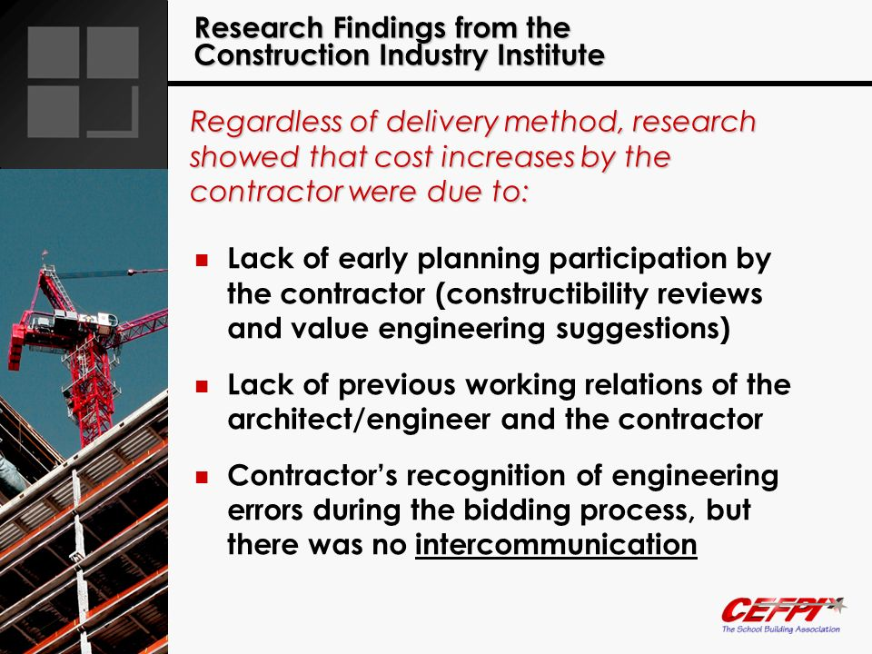 Research Findings from the Construction Industry Institute