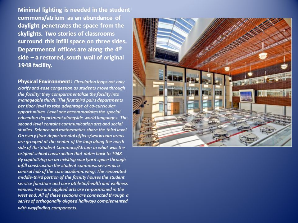 Minimal lighting is needed in the student commons/atrium as an abundance of daylight penetrates the space from the skylights. Two stories of classrooms surround this infill space on three sides. Departmental offices are along the 4th side – a restored, south wall of original 1948 facility.