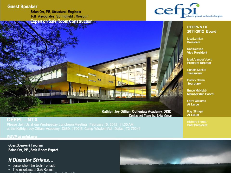 If Disaster Strikes… Guest Speaker: CEFPI – NTX