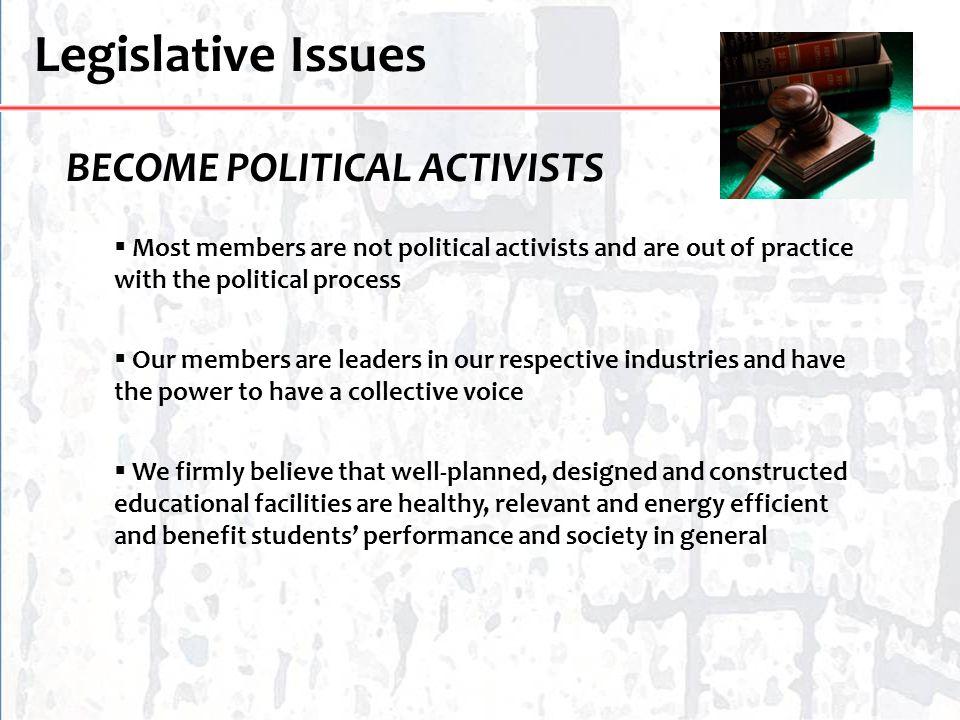 Legislative Issues BECOME POLITICAL ACTIVISTS