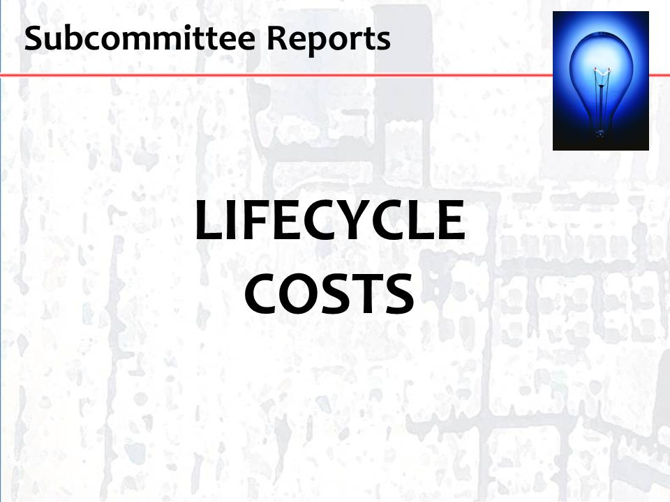 Subcommittee Reports LIFECYCLE COSTS