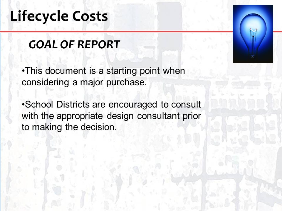 Lifecycle Costs GOAL OF REPORT