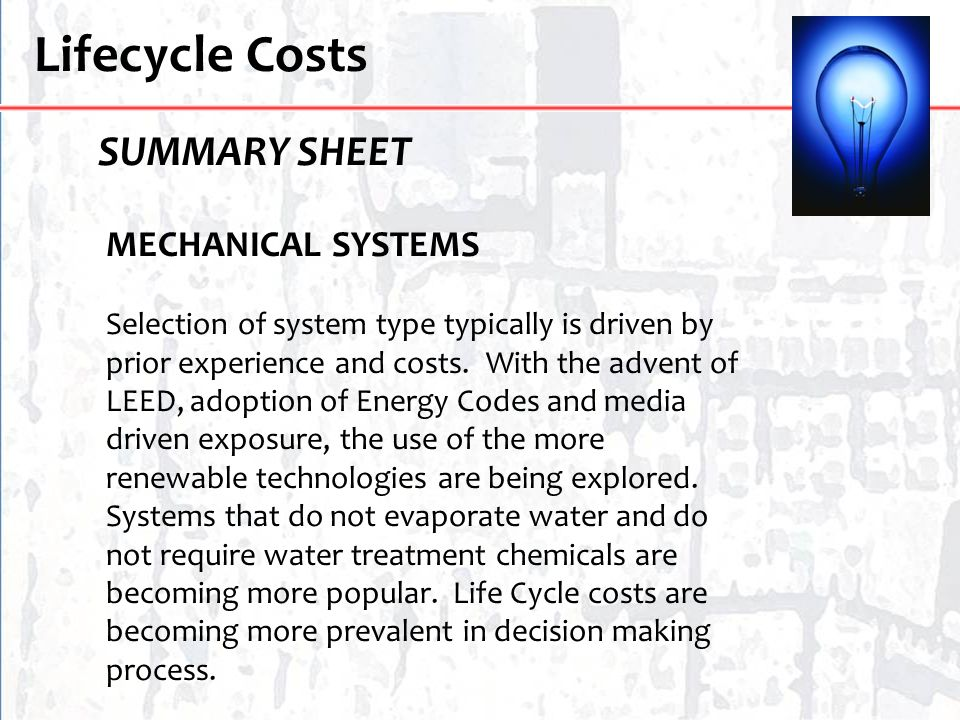 Lifecycle Costs SUMMARY SHEET MECHANICAL SYSTEMS