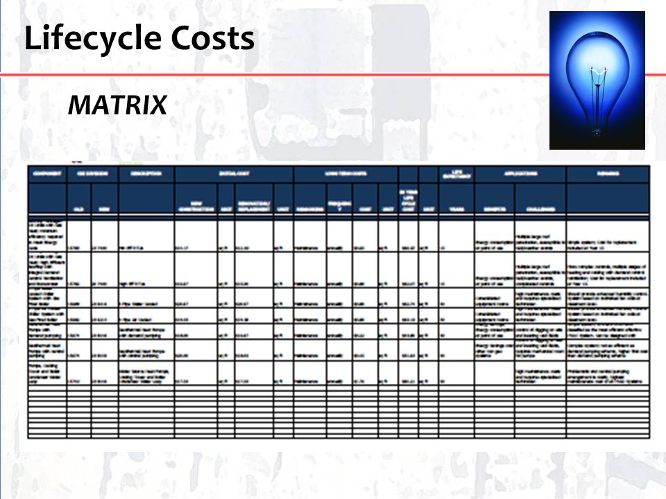 Lifecycle Costs MATRIX
