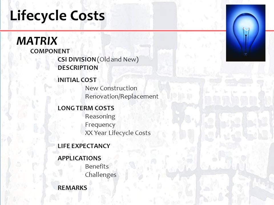 Lifecycle Costs MATRIX COMPONENT CSI DIVISION (Old and New)