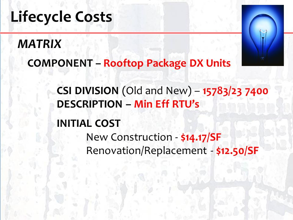 Lifecycle Costs MATRIX COMPONENT – Rooftop Package DX Units