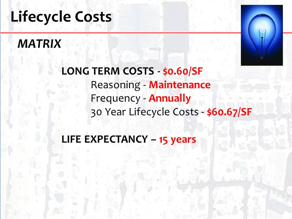 Lifecycle Costs MATRIX LONG TERM COSTS - $0.60/SF