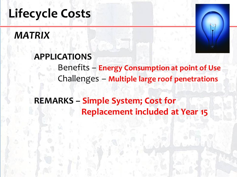 Lifecycle Costs MATRIX Benefits – Energy Consumption at point of Use