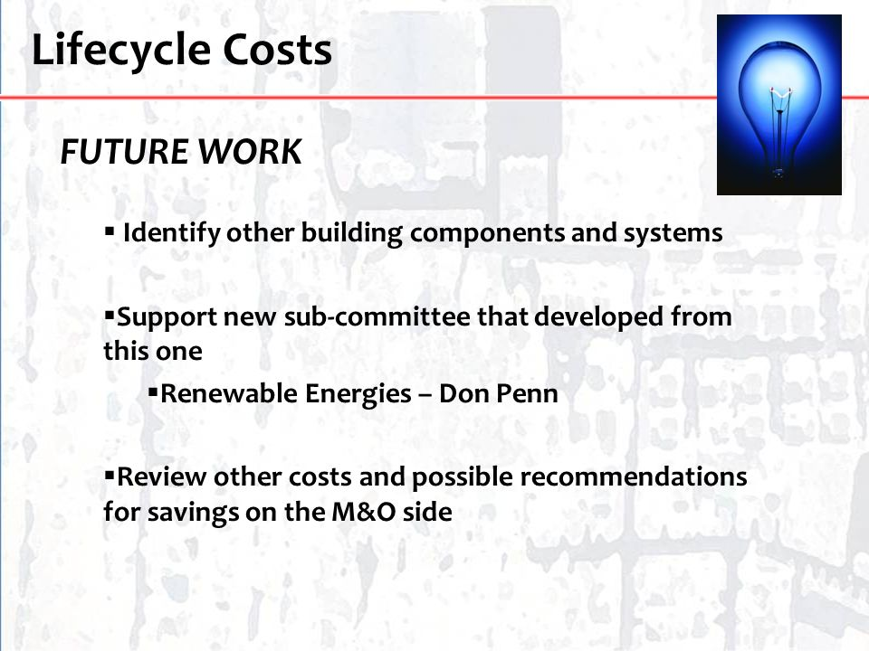 Lifecycle Costs FUTURE WORK
