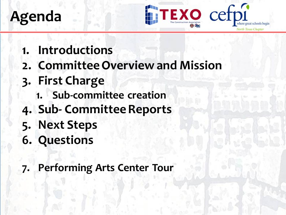 Agenda Introductions Committee Overview and Mission First Charge