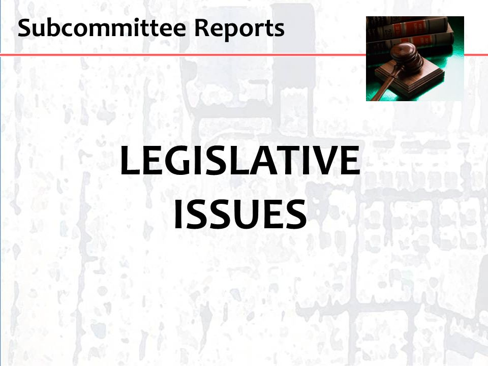 Subcommittee Reports LEGISLATIVE ISSUES