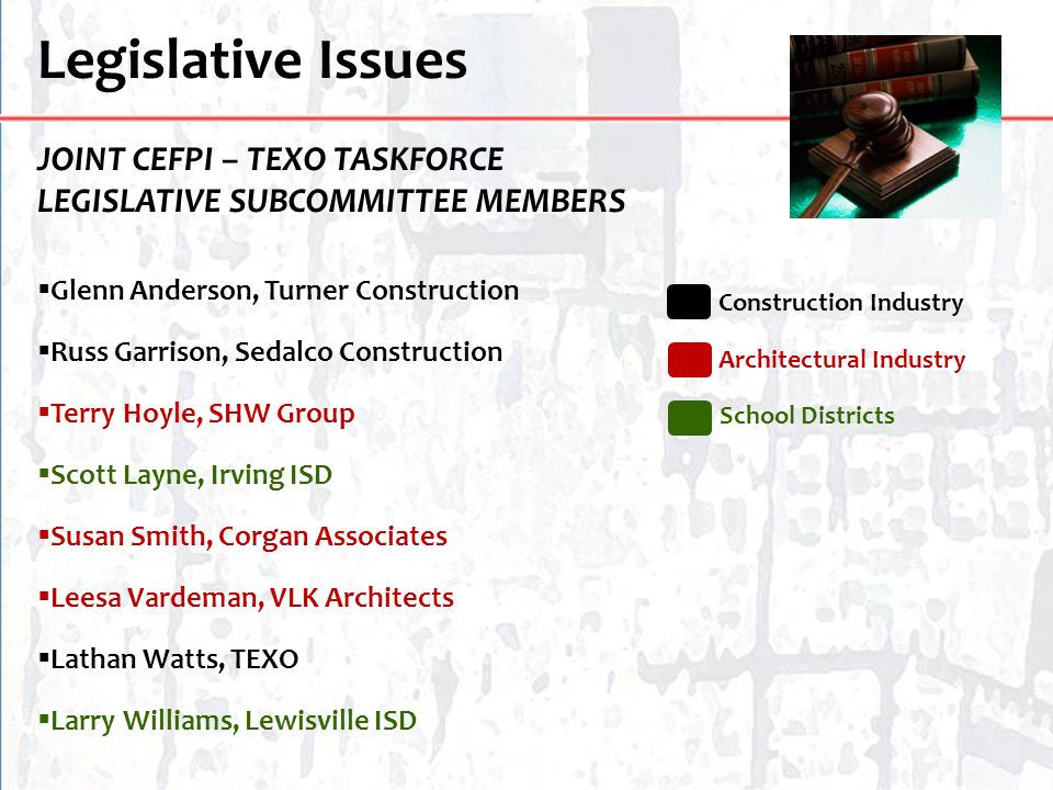 Legislative Issues JOINT CEFPI – TEXO TASKFORCE