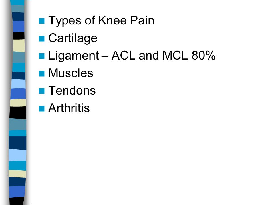 Types of Knee Pain Cartilage Ligament – ACL and MCL 80% Muscles Tendons Arthritis