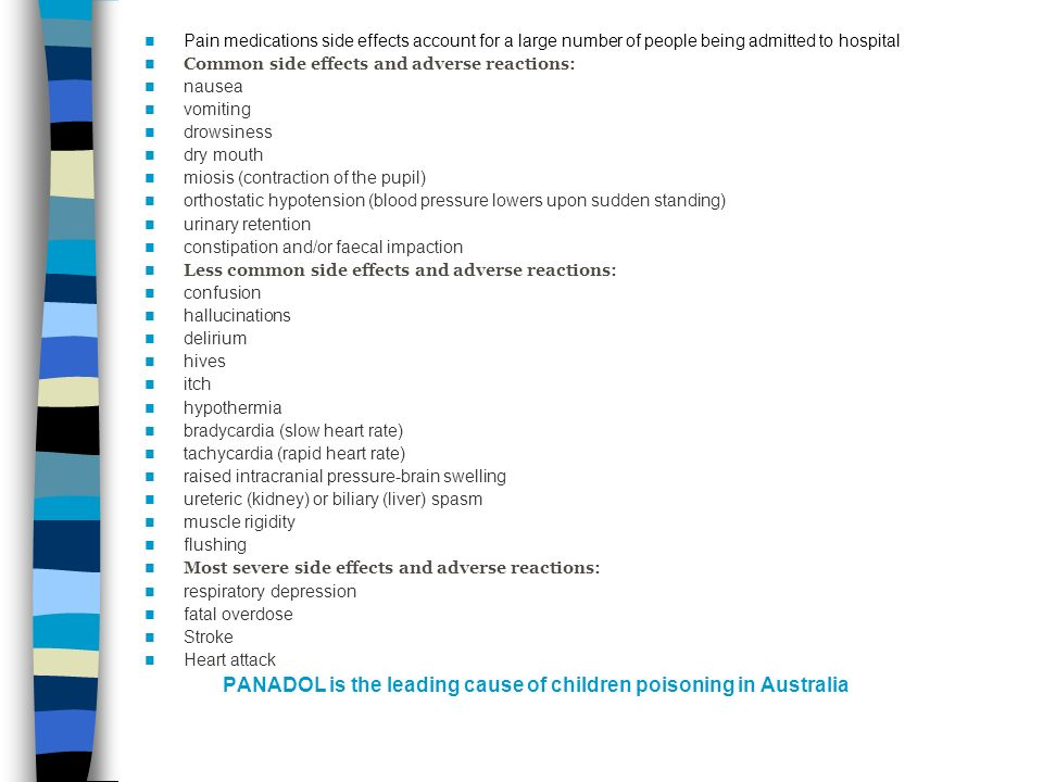 Pain medications side effects account for a large number of people being admitted to hospital