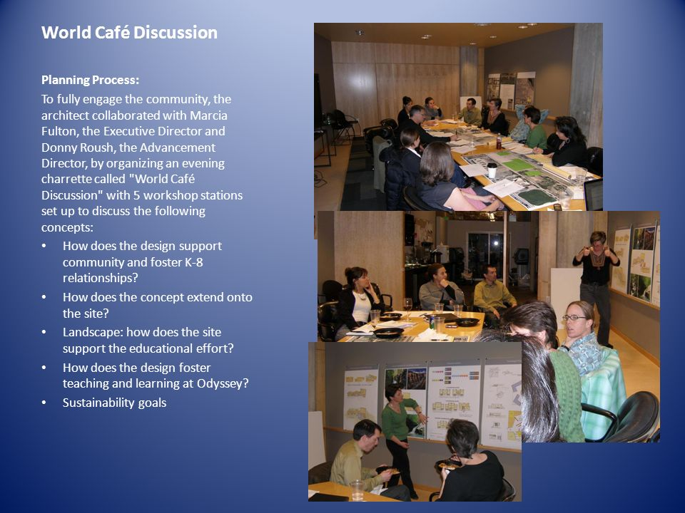 World Café Discussion Planning Process: