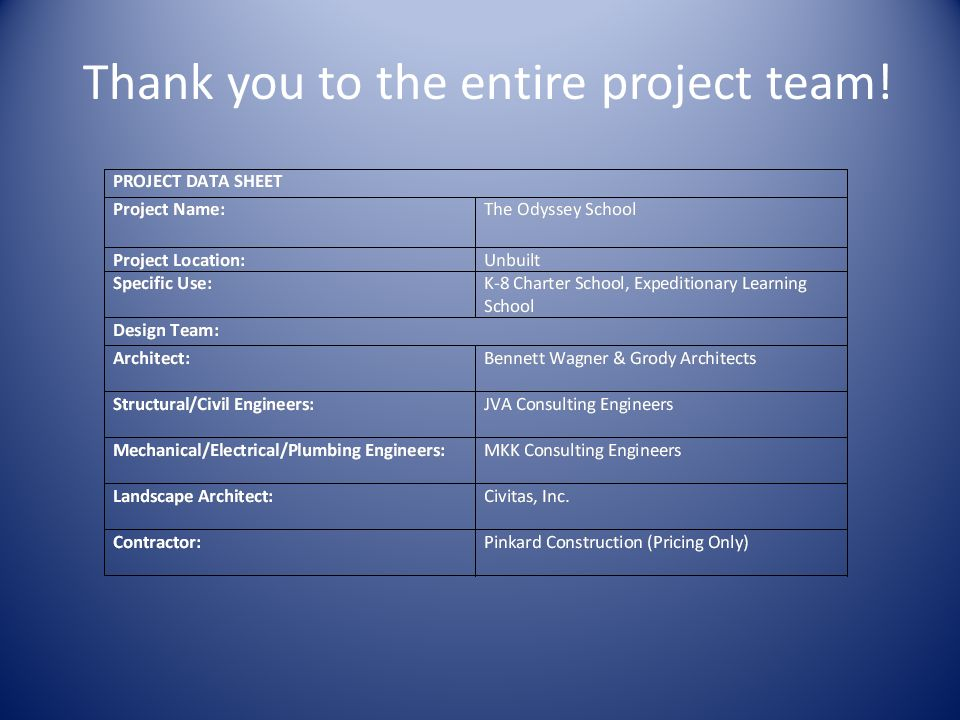 Thank you to the entire project team!