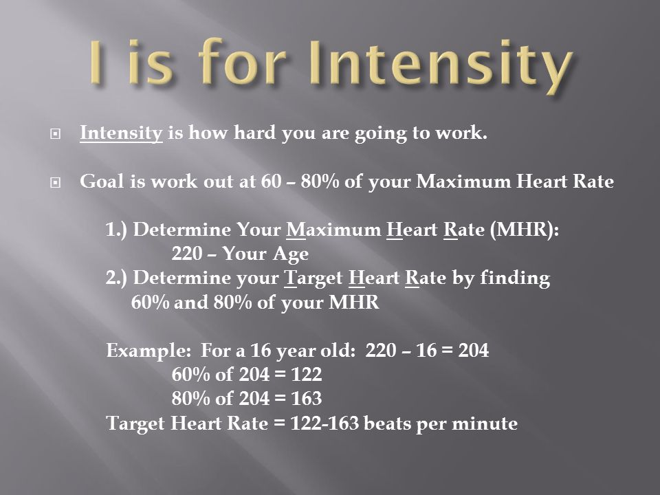 I is for Intensity Intensity is how hard you are going to work.