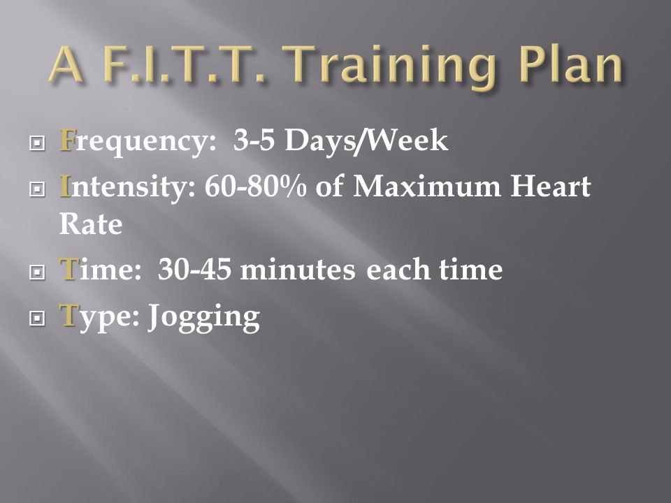 A F.I.T.T. Training Plan Frequency: 3-5 Days/Week