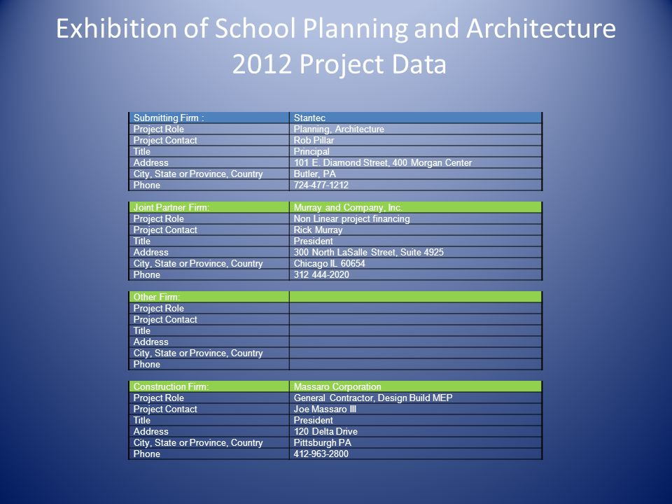 Exhibition of School Planning and Architecture 2012 Project Data