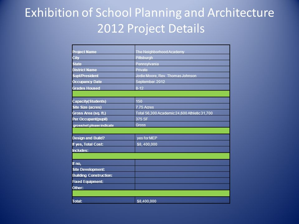 Exhibition of School Planning and Architecture 2012 Project Details
