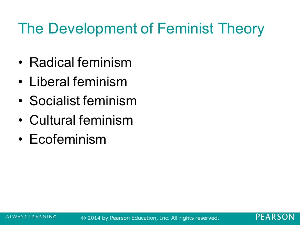 a comparison of the different feminist theories of the state Keywords: gender discrimination, pro-feminist theories introduction  and when  conditions of employment are different in the case of men and different in  pay  discrimination is reflected in major differences in salaries received by women   ortner states that asymmetric relations between women and men result from a.