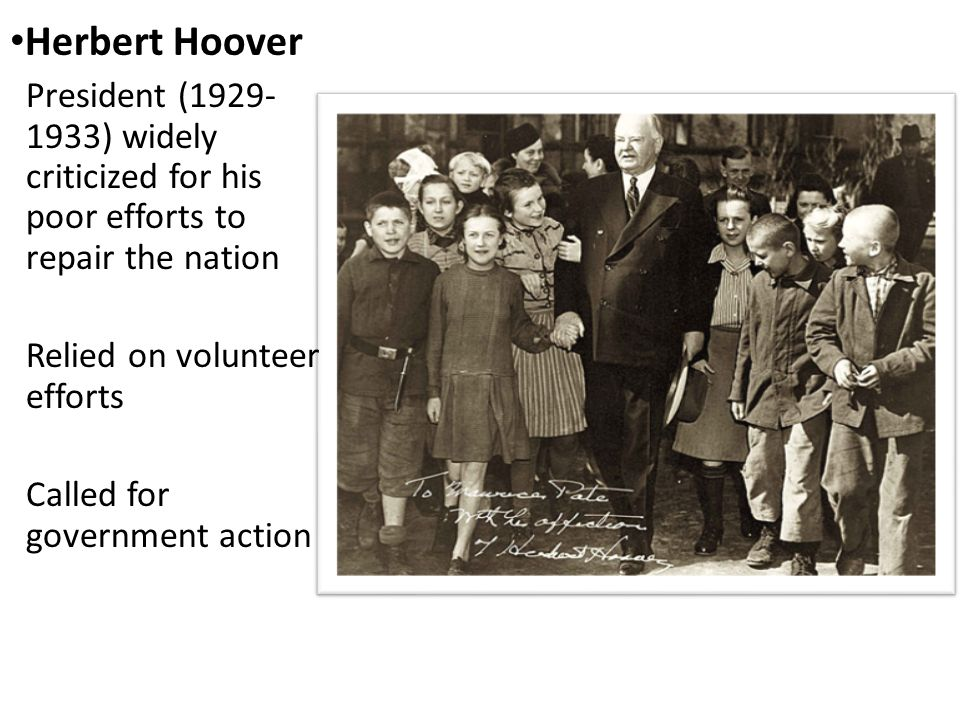 president hoovers lack of action in the President herbert hoover was probably the best prepared and most qualified of the three presidents of the 1920's born in 1874, he knew poverty from personal experience.