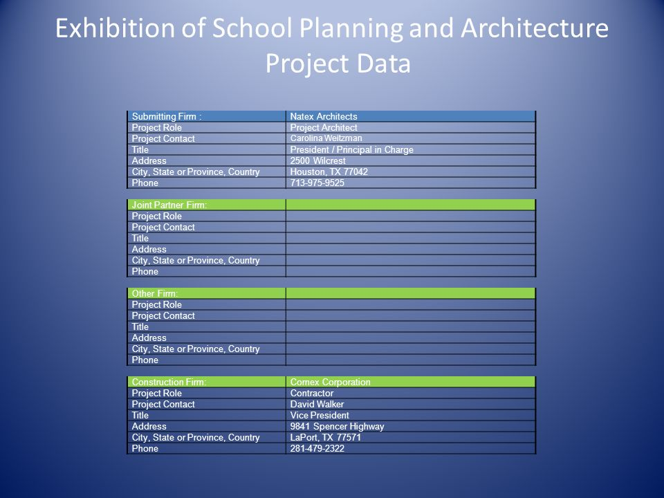 Exhibition of School Planning and Architecture Project Data