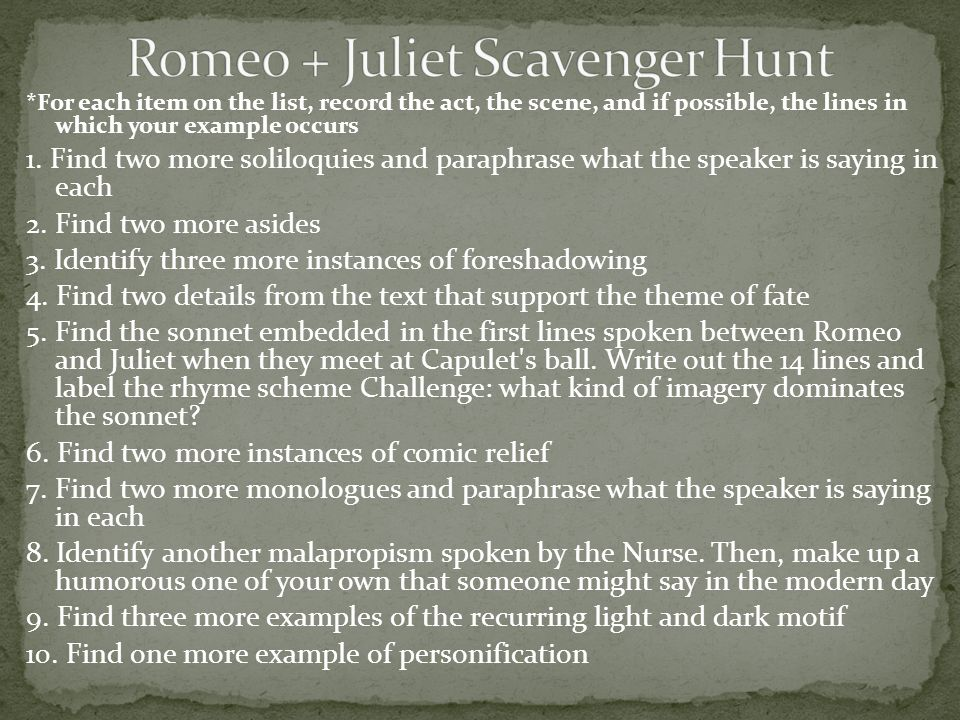 romeo and juliet william shakespeare ppt romeo juliet scavenger hunt