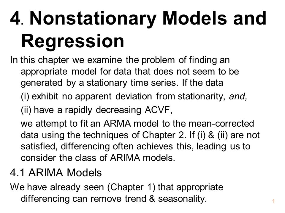 4. Nonstationary Models and Regression