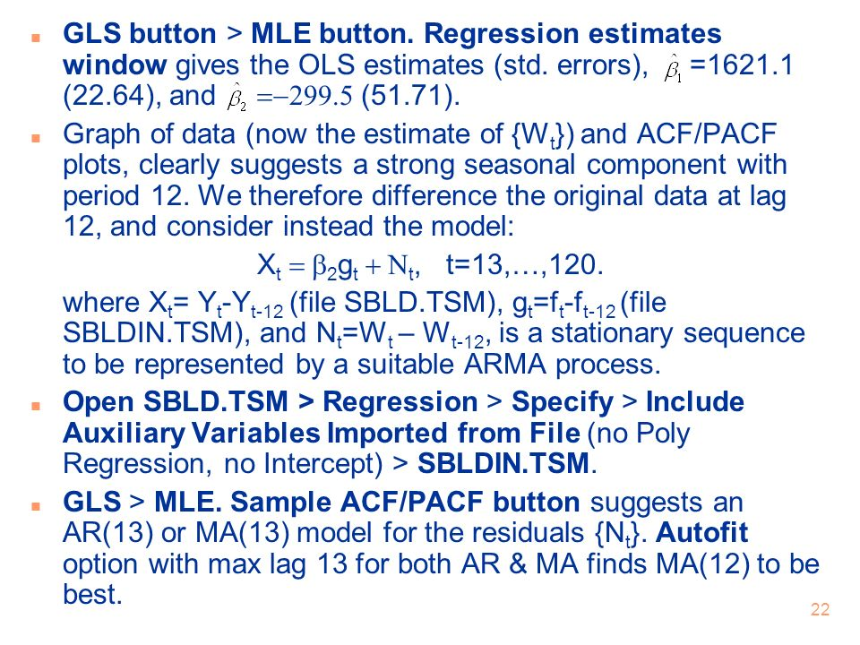 GLS button > MLE button