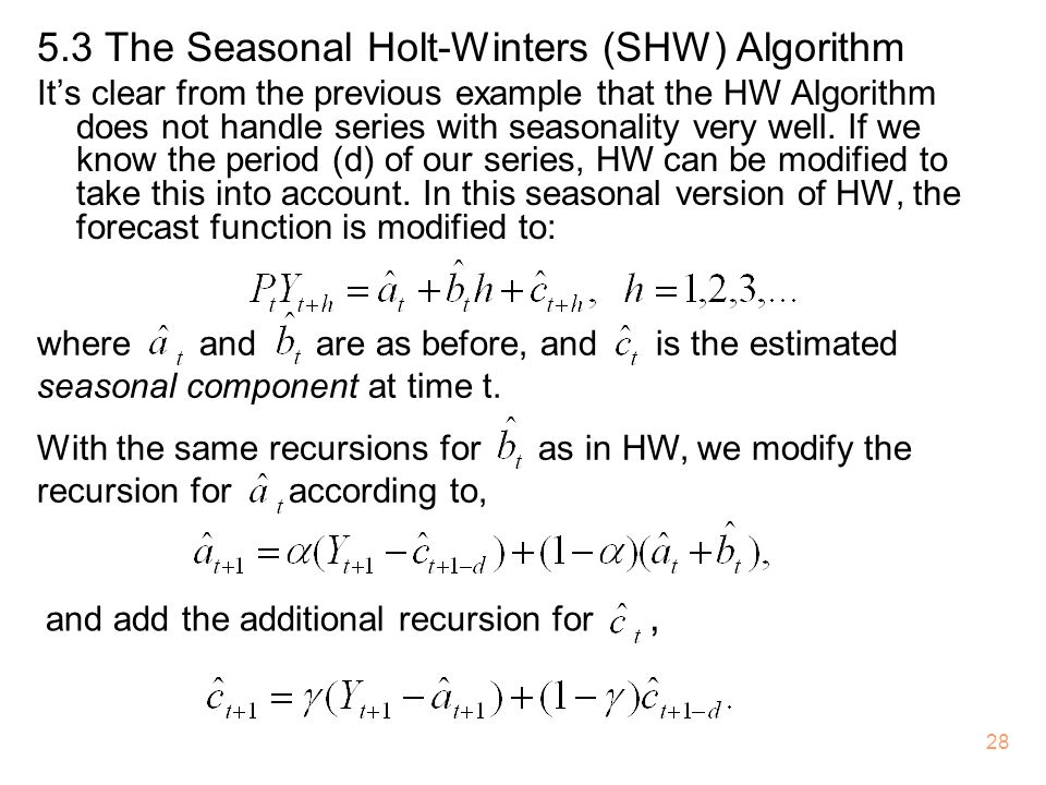 5.3 The Seasonal Holt-Winters (SHW) Algorithm